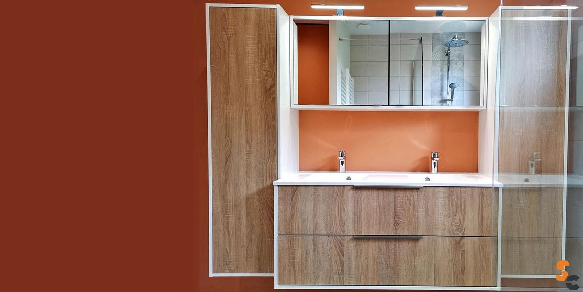 Meuble et colonne bois double vasque miroir led
